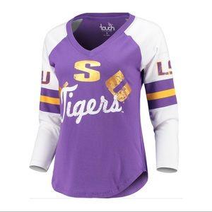 LSU Tigers 3/4-Sleeve Raglan V-Neck T-Shirt